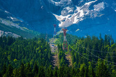 High voltage poles in the pine forest on Zugspitze mountain alps Stock Photo