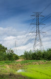 High voltage poles. High voltage pylons Land scape blue sky Stock Images