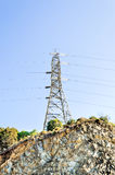 High voltage post. A High voltage post with blue sky Stock Photos