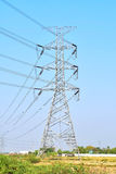 High voltage post. At countryside stock image