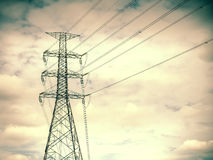 High voltage post,electric pole,Power poles,High voltage power p. Ole with wires tangle stock images