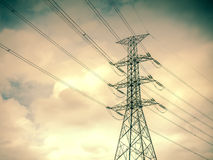 High voltage post,electric pole,Power poles,High voltage power p. Ole with wires tangle stock photo