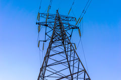 High voltage post or High voltage tower. Royalty Free Stock Photo