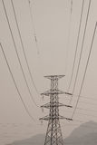 High voltage post.High-voltage tower with black and white picture style Royalty Free Stock Photo