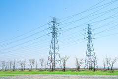 High voltage post or High voltage tower. Royalty Free Stock Image