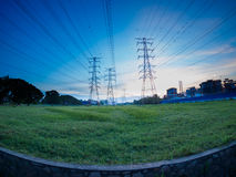 High voltage post or High voltage tower in green field at Butterworth, Penang, Malaysia Stock Photography