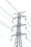 High voltage post or High-voltage tower isolated on white Royalty Free Stock Image