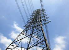 High voltage post.High-voltage tower sky Stock Photos