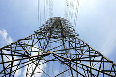 High voltage post.High-voltage tower sky Stock Photo