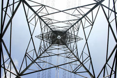 High voltage post.High-voltage tower sky Royalty Free Stock Image