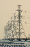 High voltage post.High-voltage tower. Sky background Stock Photo