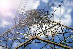 High voltage post.High-voltage tower Royalty Free Stock Photo
