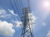 High voltage post.High-voltage tower Royalty Free Stock Image