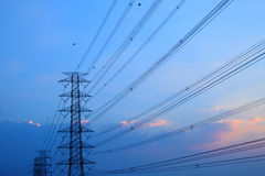 High voltage post.High-voltage tower sky background Stock Photography