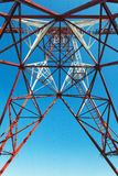 High voltage post.High-voltage tower sky background Stock Images