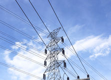 High voltage post.High-voltage tower sky background Stock Image
