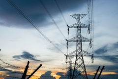 High voltage post.High-voltage tower sky background. Stock Image