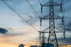 High voltage post.High-voltage tower sky background. Stock Photos