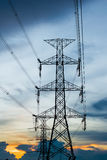 High voltage post.High-voltage tower sky background. Stock Images