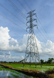 High voltage post.High-voltage tower sky background. Royalty Free Stock Photography