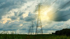 High voltage post.High-voltage tower sky background. Royalty Free Stock Images