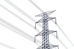 High voltage post isolated on white background Royalty Free Stock Photos