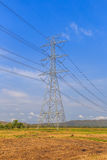 High voltage post and power lines with blue sky Royalty Free Stock Image