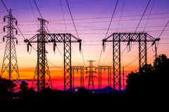 High voltage post and sky in twilight time Stock Image