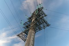 High voltage post. Sochi. stock images
