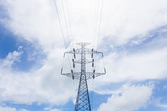 High voltage post. In sunny day Royalty Free Stock Image