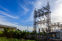 High voltage post.High-voltage tower on blue sky Royalty Free Stock Photography