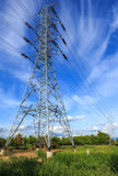 High voltage post.High-voltage tower on blue sky Stock Photos