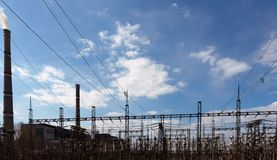High voltage post or High voltage tower stock images