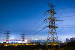 High voltage. Post.High-voltage tower sky background Stock Photos
