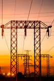 High voltage post in twilight time Stock Photos