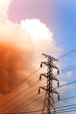 High voltage post in twilight time Stock Photo