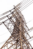 High voltage post on white Royalty Free Stock Photography