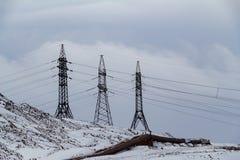 High voltage posts. Norilsk. High voltage posts on the mountain. Norilsk. October 19, 2018 stock photo