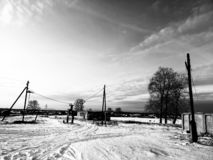 High voltage posts in winter stock photos