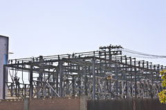 High voltage power distribution center. Electrical power high voltage distribution station Royalty Free Stock Photography