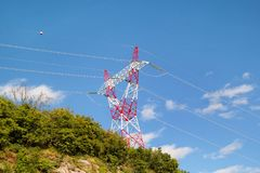 High voltage power electrical transmission tower and electricity pole / Electric distribution of the transmission line. High voltage power electrical stock images