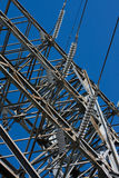 High voltage power line. High voltage electrical substation power line with insulators Stock Photography