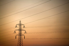 High voltage power Line. In sunset Royalty Free Stock Photography
