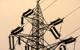 Power line tower details Royalty Free Stock Photography