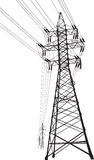 High voltage power line. Vector silhouette of high voltage power lines and pylon Stock Photo