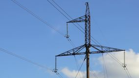 High-voltage power line. In autumn day stock video footage