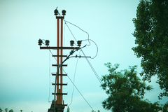 High voltage power line at evening sky. High voltage power line at beautiful evening sky royalty free stock images