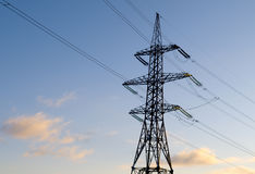 High-voltage power line & blue sky Royalty Free Stock Images