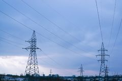 High-voltage power line, electricity distribution station. Indus. Trial concept stock photos