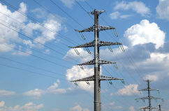 High-voltage power line gray metal props Royalty Free Stock Photos
